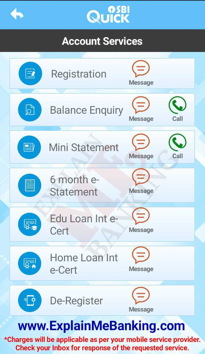 SBI Quick Missed Call Banking