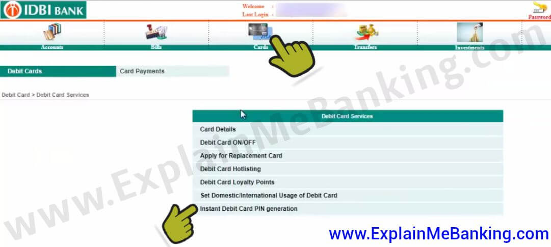 Activate IDBI New ATM Card Online