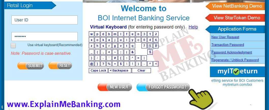 BOI Net Banking Forgot Password