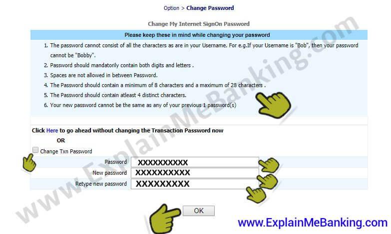 BOI Transaction Password Change Karna
