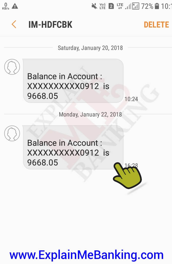 HDFC Bank Balance Enquiry