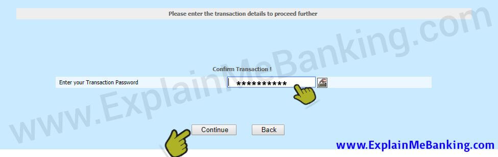 Enter BOI Transaction Password