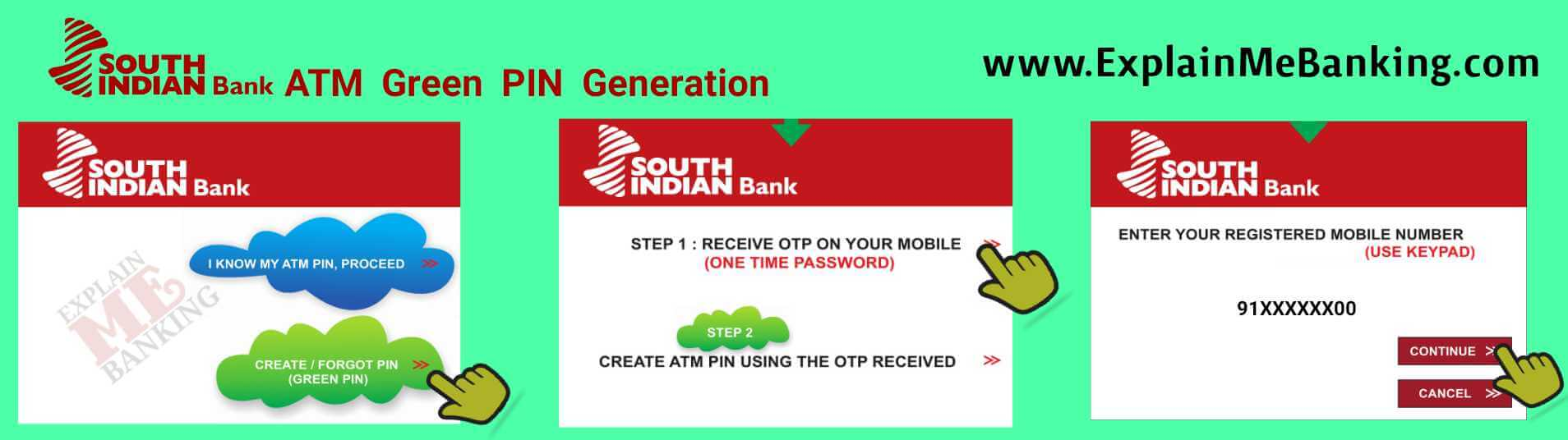 South Indian bank ATM Green PIN Generation