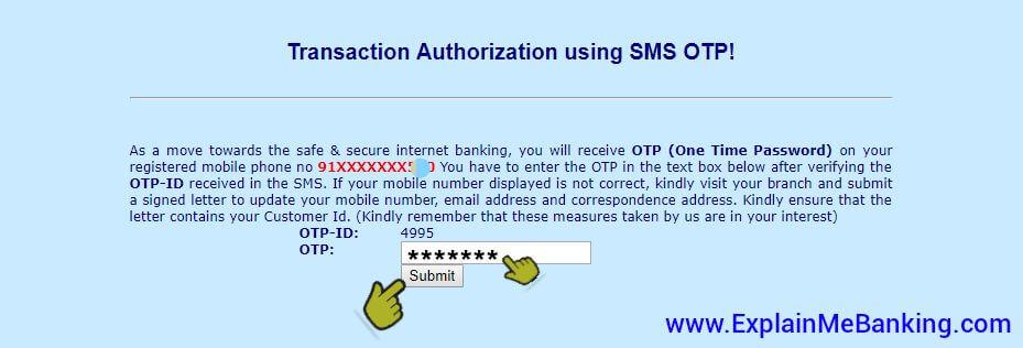 BOI Net Banking OTP