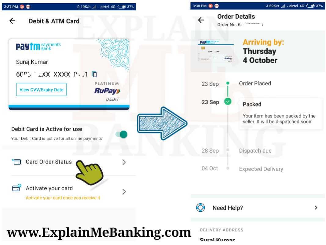 Paytm Debit Card Order Status