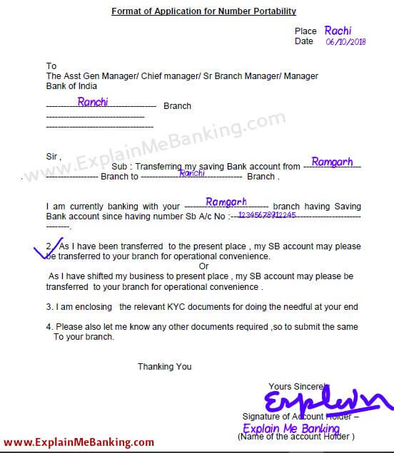Bank Of India Account Transfer Form