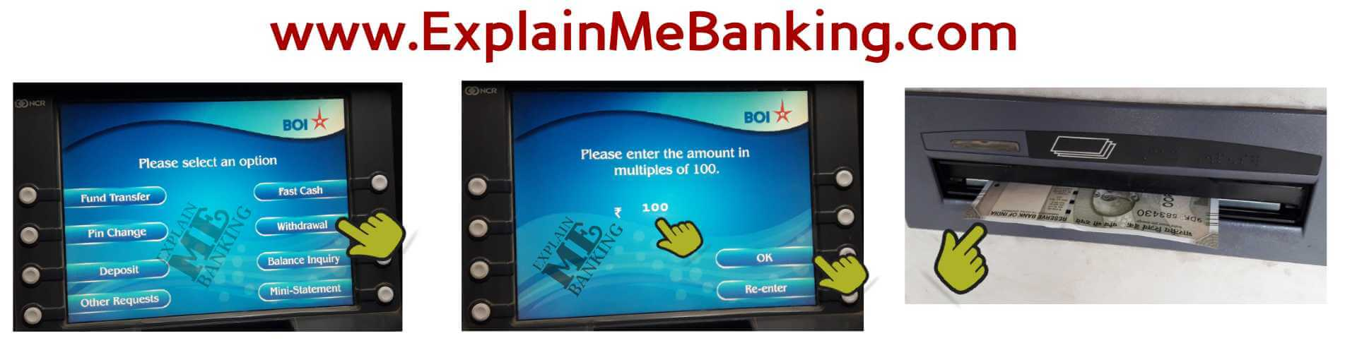 Money Withdrawal Form BOI ATM Machine