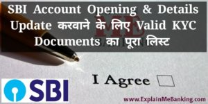 SBI KYC Documents For Account Opening & Account Details Update Ka Pura List