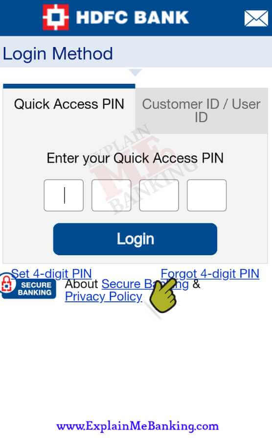 Forgot / Reset HDFC Quick Access PIN