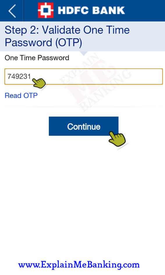 HDFC App OTP
