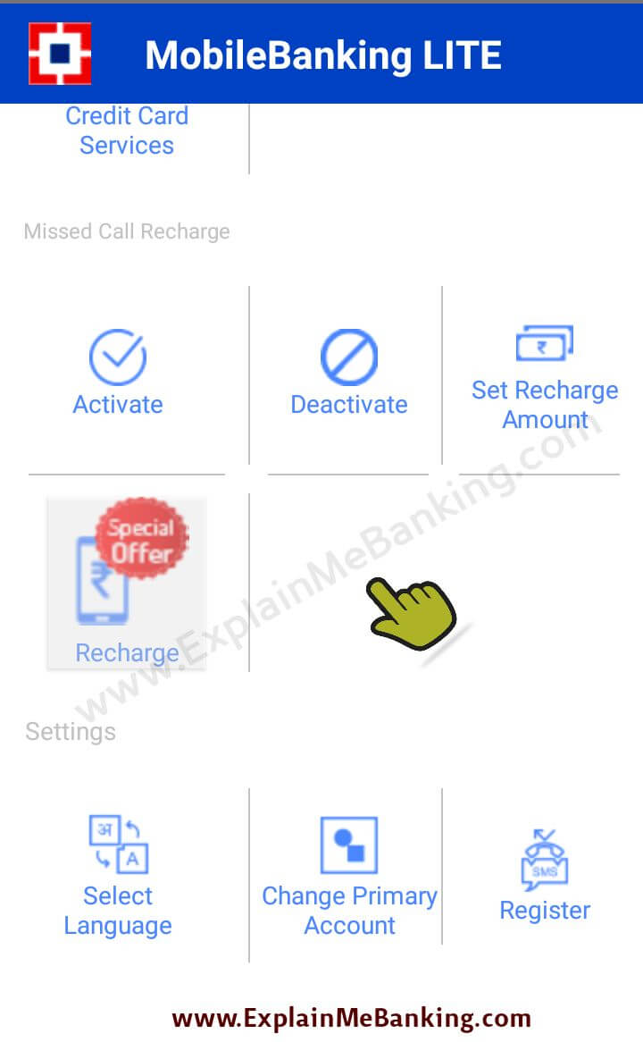 HDFC Missed Call Recharge