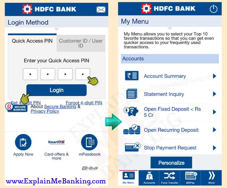 HDFC Mobile Banking App Login
