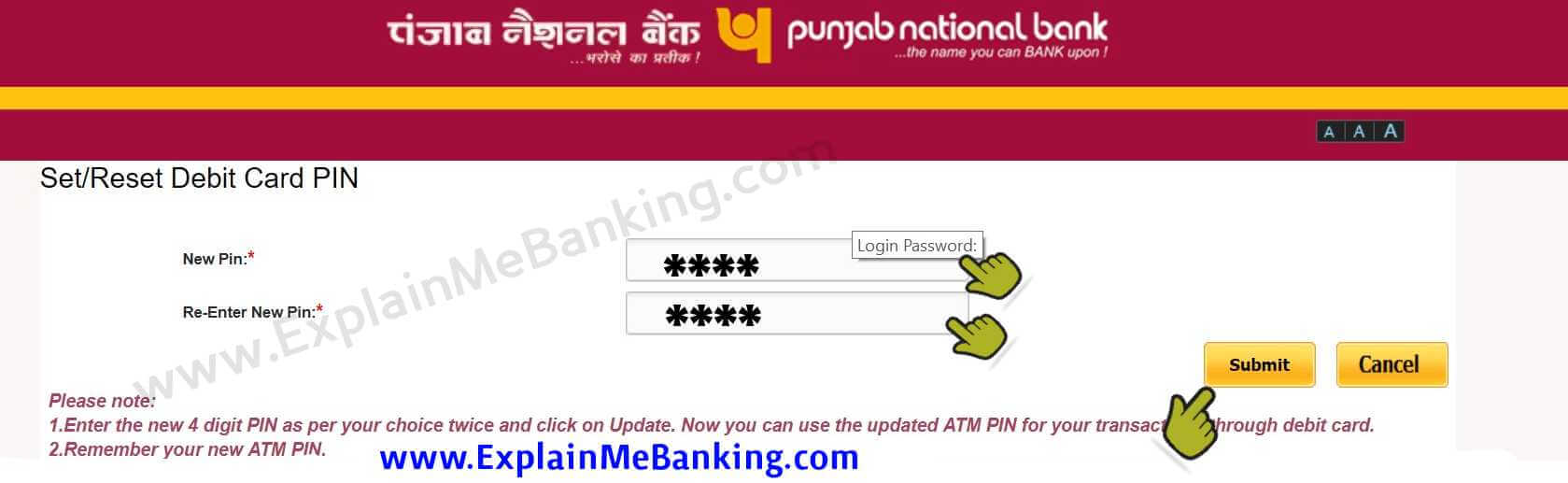 Reset PNB ATM PIN Online