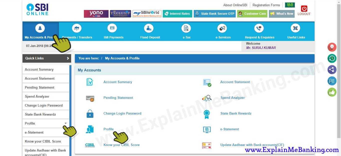 SBI Net Banking Profile