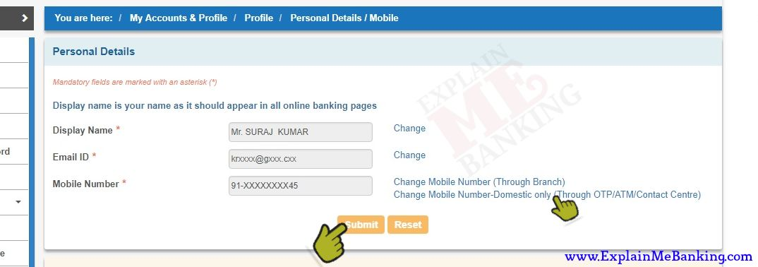 SBI Personal Detail Mobile Number Change