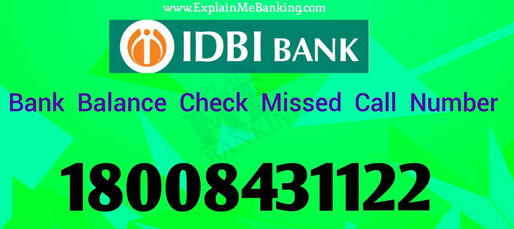 IDBI Balance Check Missed Call Number ( Toll Free )