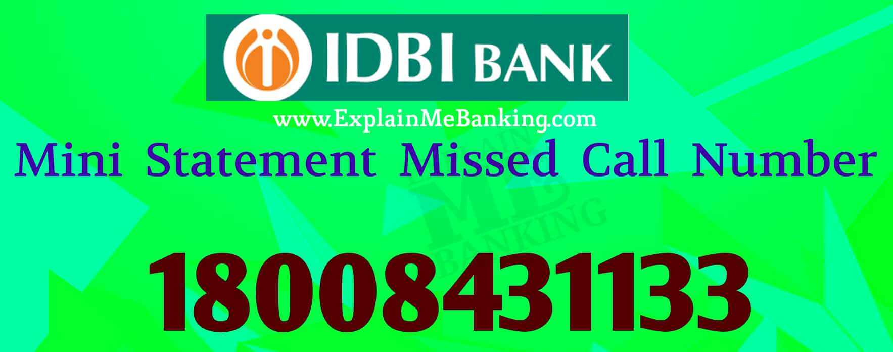 IDBI Mini Statement Missed Call Number