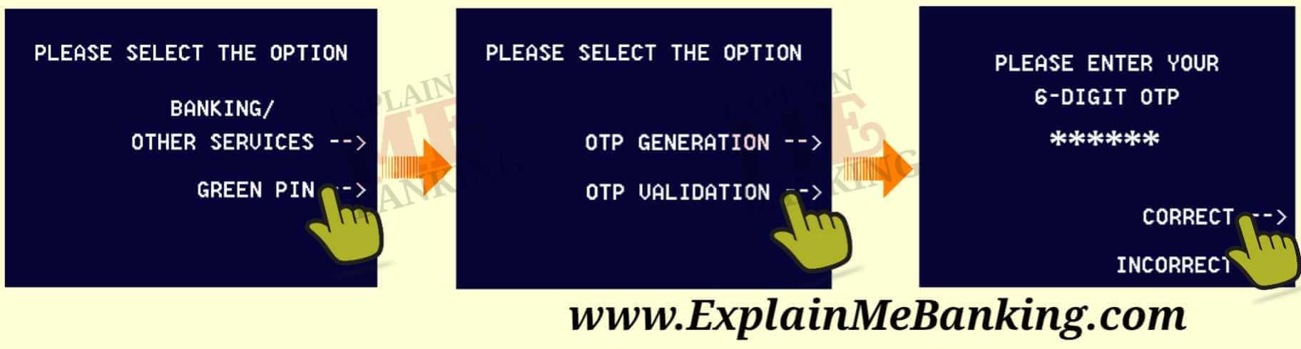 Punjab and Sind Bank ATM Green Pin OTP Validation