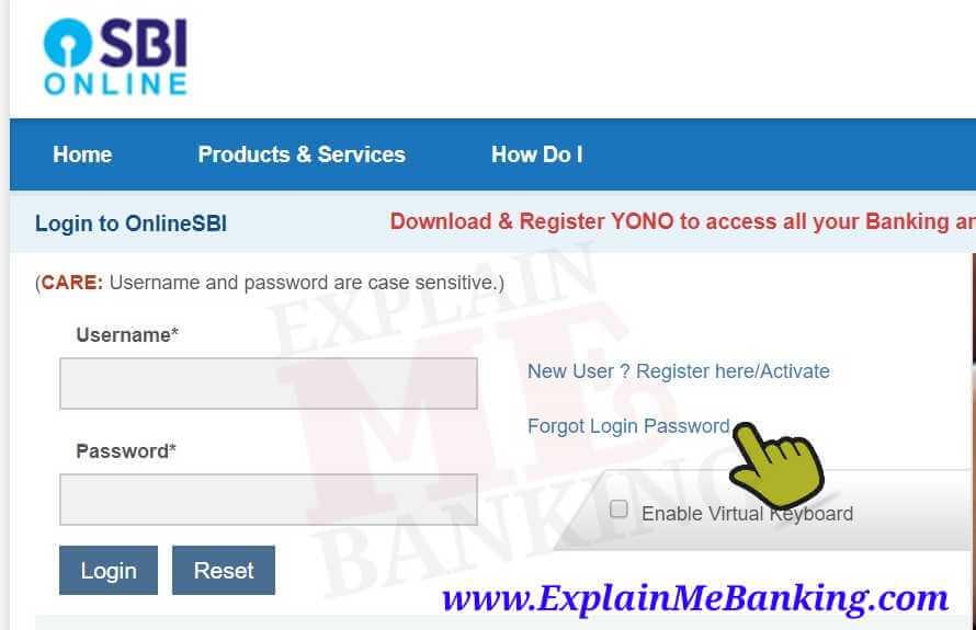 SBI Internet Banking Login Page