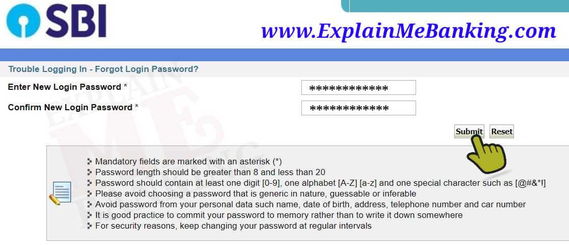 SBI Internet Banking New Password Reset