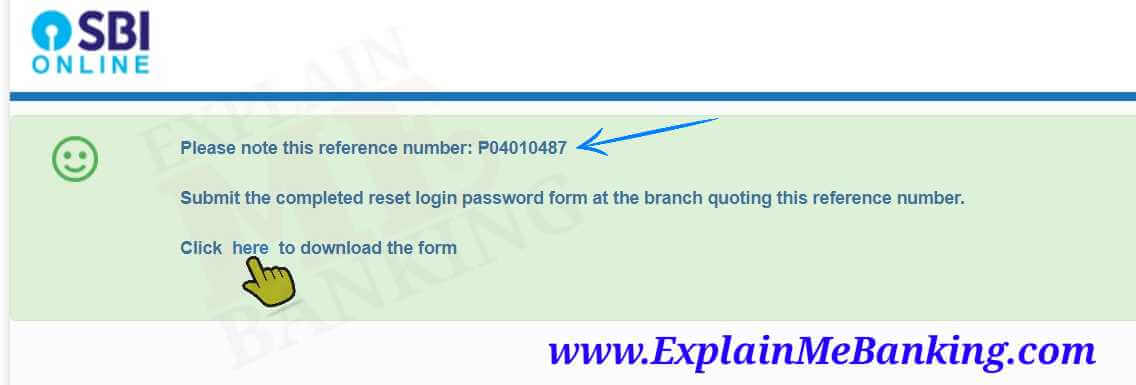 SBI Net Banking Reset Password Reference Number