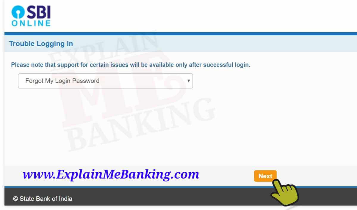 SBI Net Banking Reset Password