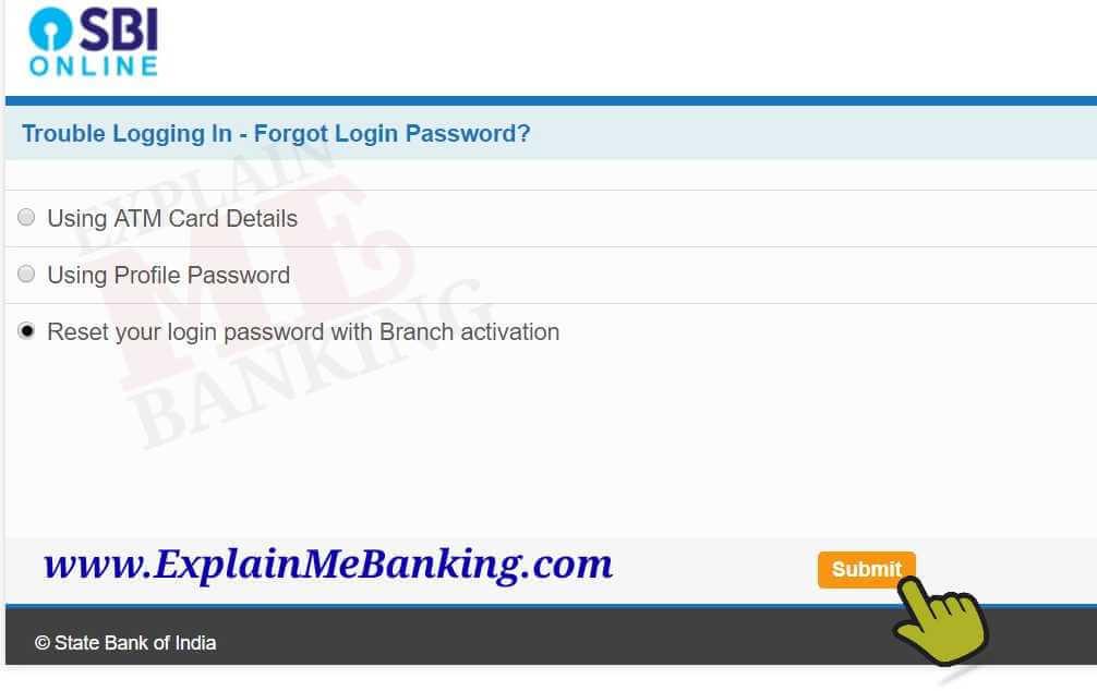 State Bank of India INB Forgot Password