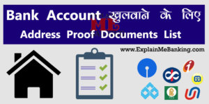 Bank Account Address Proof Document List