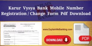 KVB Mobile Number Change Form PDF