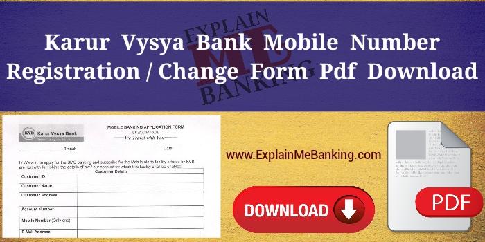 KVB Mobile Number Change Form PDF Download (Registration Form)