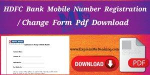 HDFC Bank Mobile Number Change Form Download