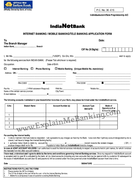 Indian Bank Net Banking Form