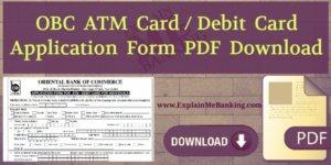 OBC ATM Card Application Form PDF Download
