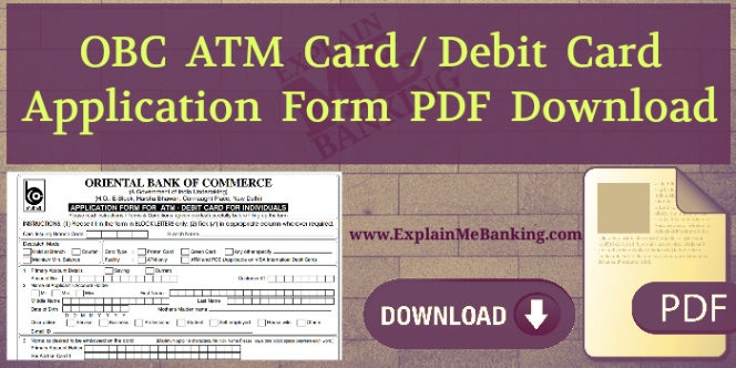 Oriental Bank Of Commerce OBC ATM Card Application Form PDF Download.