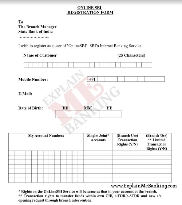 SBI Net Banking Form