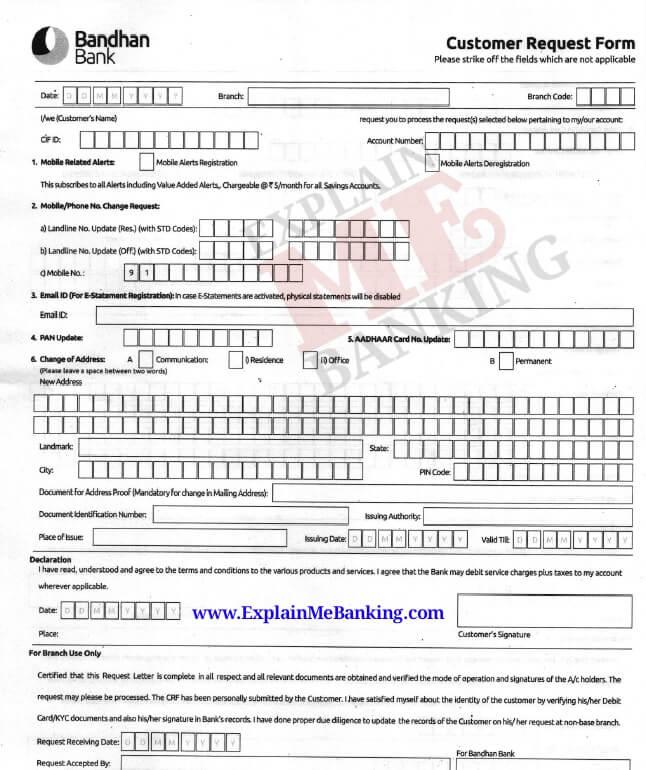 Bandhan Bank Mobile Number Change Form