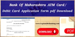 Bank Of Maharashtra ATM Card Application Form Pdf Download