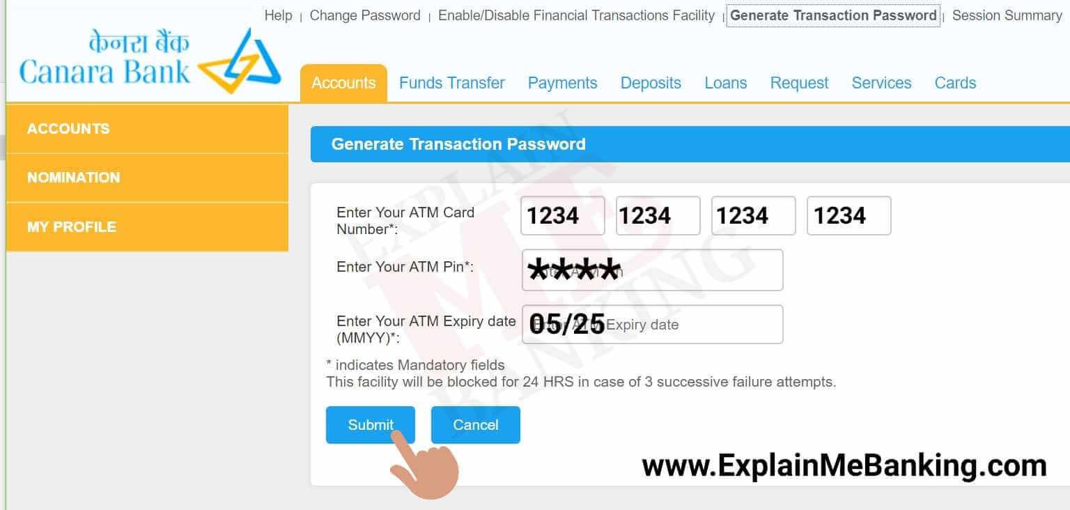 Canara Bank Net Banking Transaction Password Generation