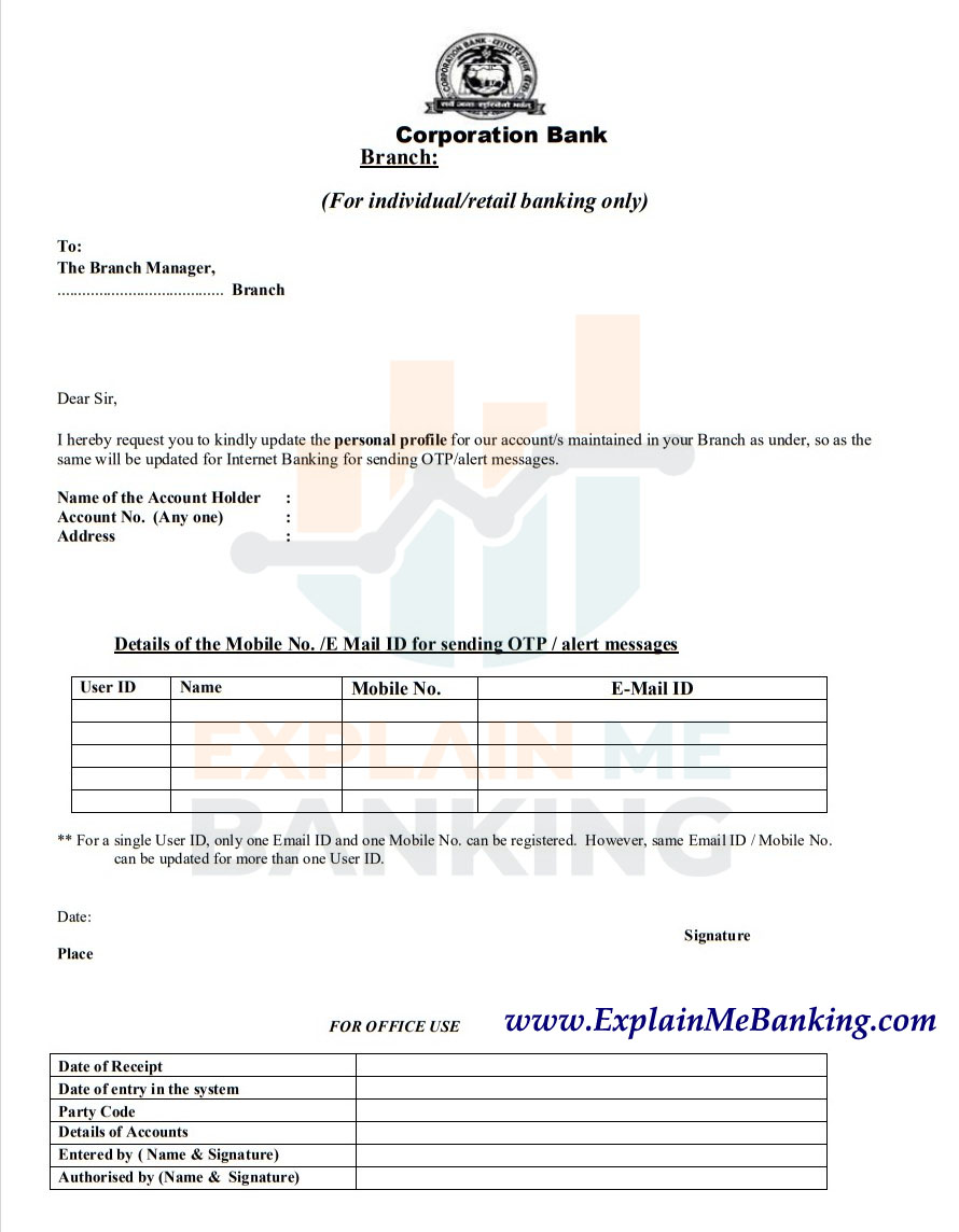 Corporation Bank Mobile Number Register / Change Form