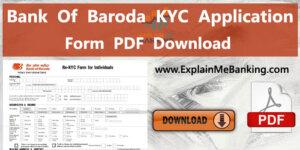 Bank Of Baroda BOB KYC Form PDF Download