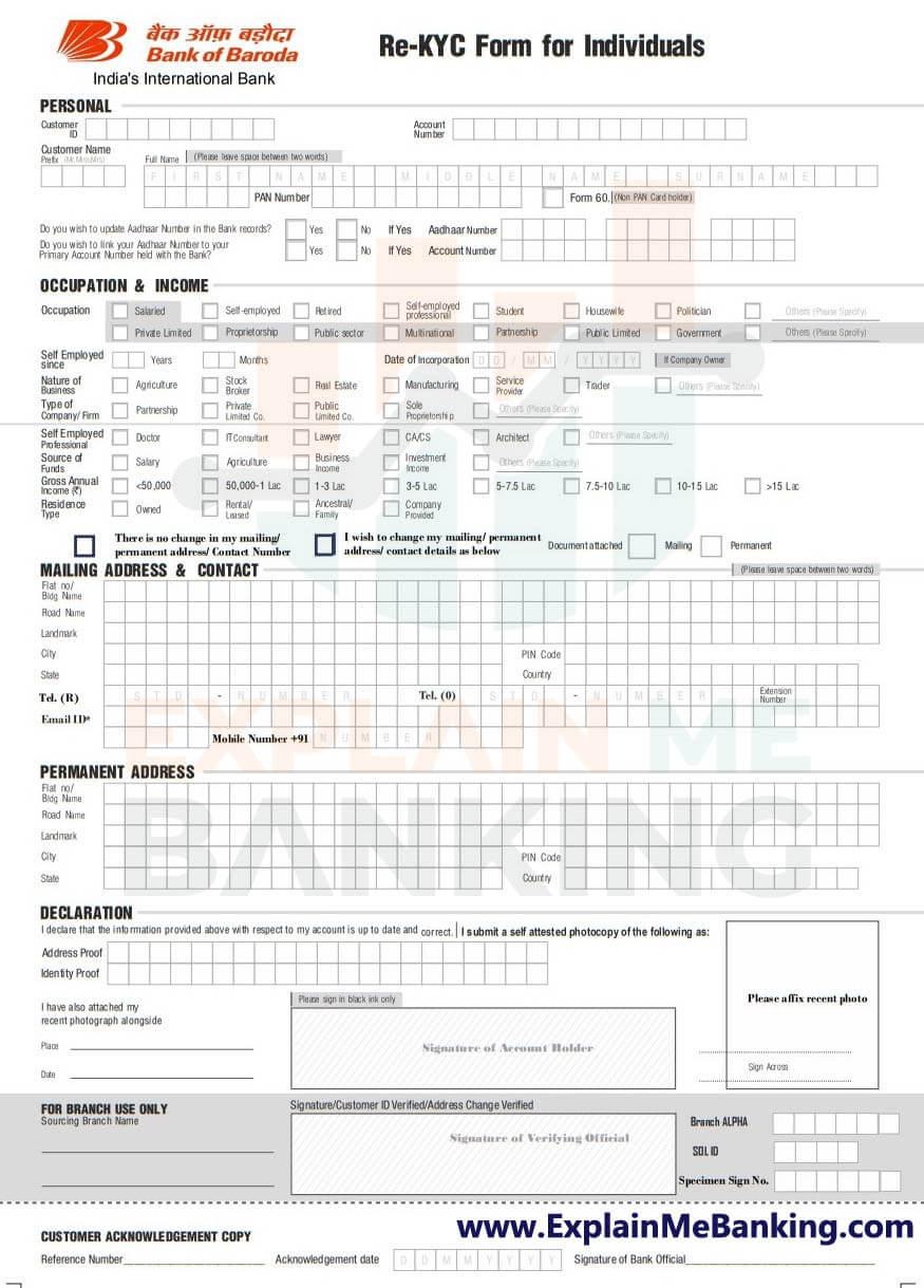 Bank Of Baroda KYC Form