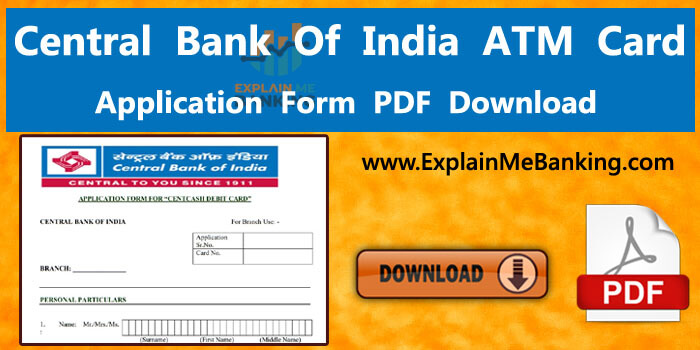 Central Bank Of India ATM Card Application Form PDFDownload