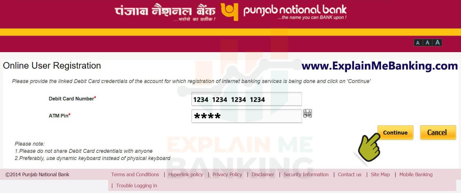 PNB Internet Banking Registration Debit Card Details