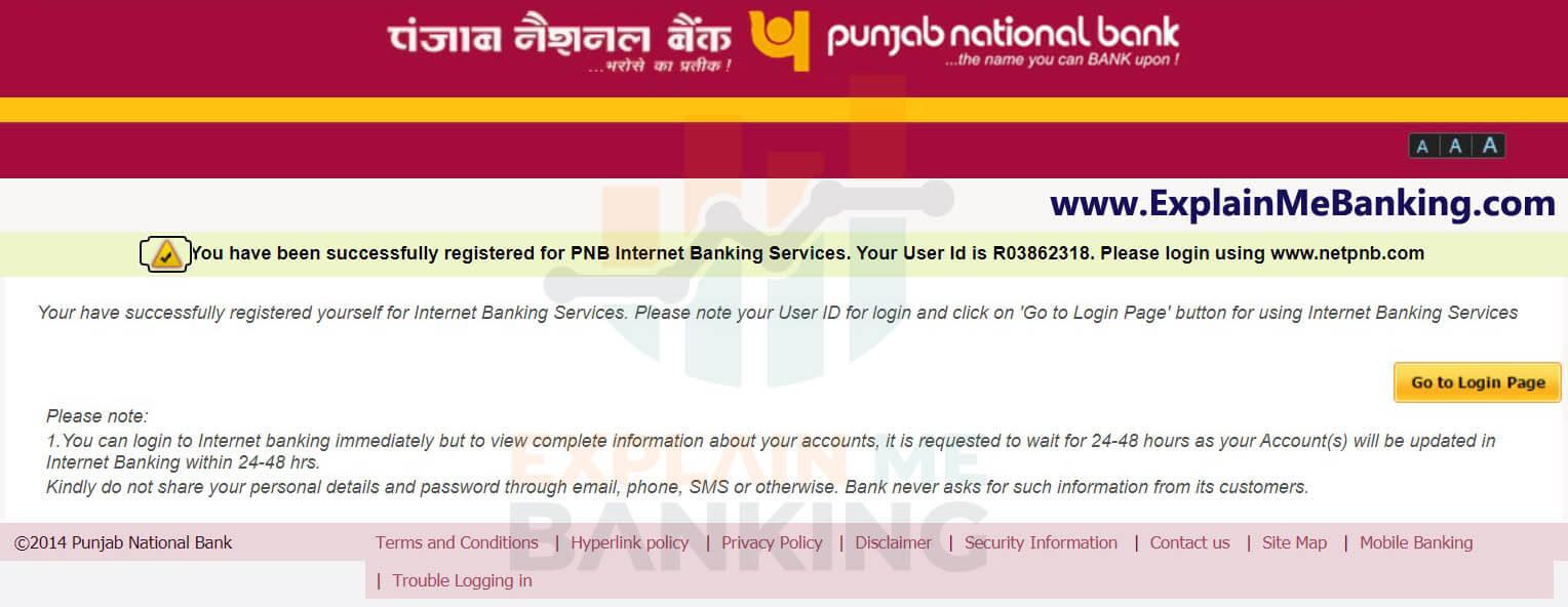 PNB Registration Complete Confirmation Page