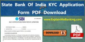 State Bank Of India SBI KYC Form PDF Download