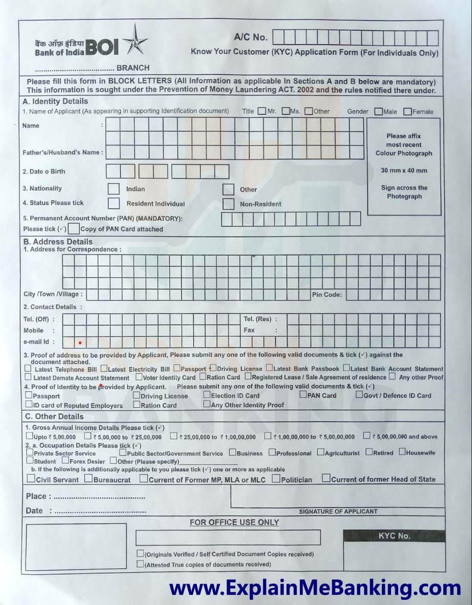 BOI KYC Application Form