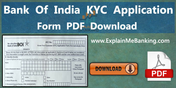 BOI Bank Of India KYC Form PDF Download