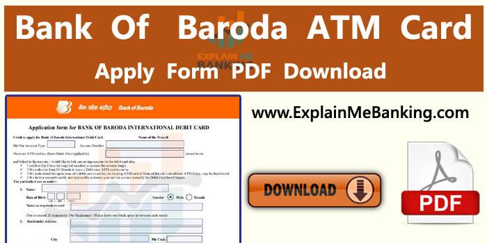 Bank Of Baroda ATM Card Application Form PDF Download