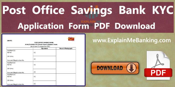 Post Office Savings Bank KYC Form PDF Download