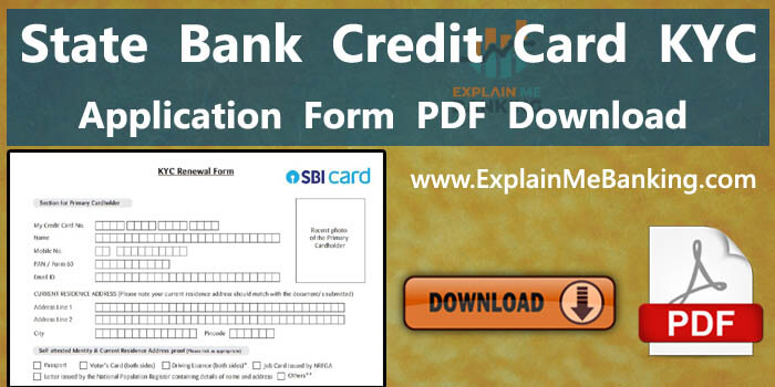 State Bank Of India SBI Credit Card KYC Form PDF Download